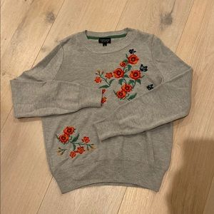 Top shop flower embroidery sweater grey